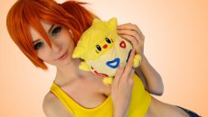 WhiteSpring cosplays Misty from Pokémon with Togepi